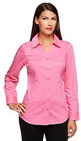 Denim & Co. As Is Essentials Button Front Blouse w/ Shirt Tail Hem