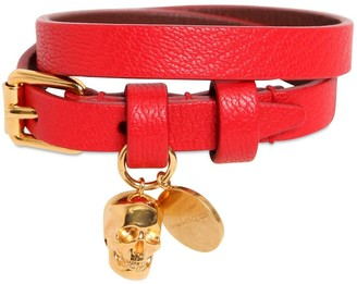 Alexander McQueen Double Wrap Leather Bracelet W/ Skull