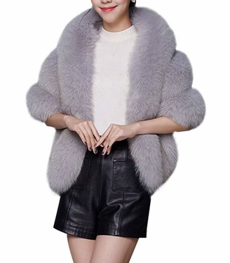 Yasong Women Luxurious Faux Fur Fluffy Wedding Ceremony Shrug Wrap Light Grey