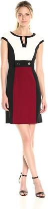 Sandra Darren Women's Cap Sleeve Color Block Crepe Sheath Dress