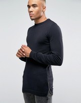 Asos Muscle Fit Longline Knitted Sweater With Side Zips