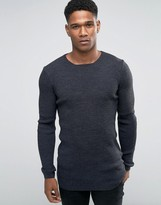 Asos Longline Muscle Fit Ribbed Jumper