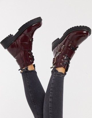 New Look buckle up chunky boot in burgundy