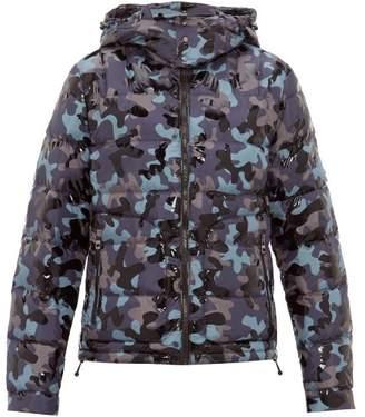 49 Winters - Camouflage-print Hooded Down Jacket - Mens - Navy Multi