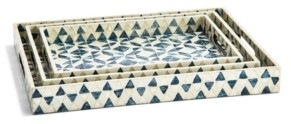 Twos Company Two's Company Geometric Mother of Pearl Gallery Trays - Set of 3