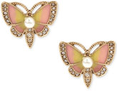 Betsey Johnson Gold-Tone Multi-Stone Butterfly Stud Earrings