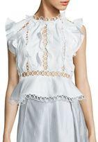 Zimmermann Winsome Cotton Lace Inset Ruffle Blouse