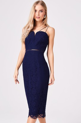 Girls On Film Midas Touch Navy Lace Sweetheart Midi Dress