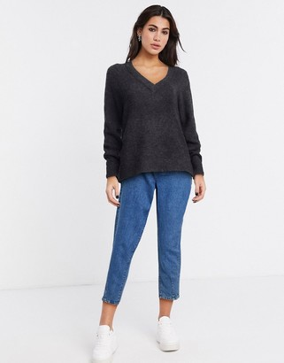 Selected anna long sleeve v neck in grey