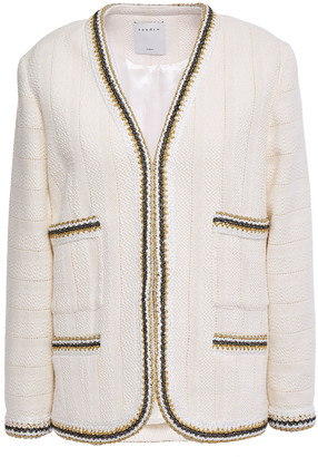 Sandro Adeline Metallic Crochet-trimmed Cotton-tweed Jacket