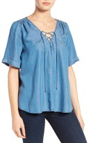 Lucky Brand Women's Lace-Up Chambray Top