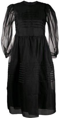 Simone Rocha Pleated Organza Midi Dress