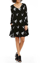 Chelsea & Theodore Embroidered Long Sleeve Swing Dress