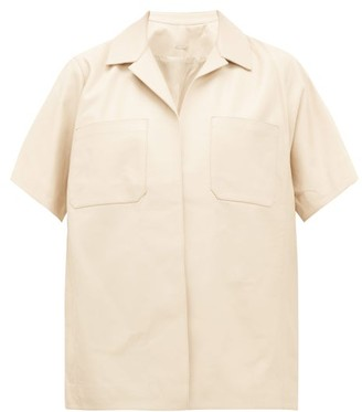 Dodo Bar Or Yulanda Short-sleeved Leather Shirt - Womens - Ivory