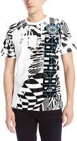 Southpole Men's Flock and Print T-Shirt with Patterns and Asymmetric Vertical Logo