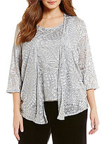 Alex Evenings Plus Scoop Neck 3/4 Sleeve Embroidered Twinset
