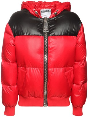 Moschino Shiny Nylon Down Jacket W/back Logo