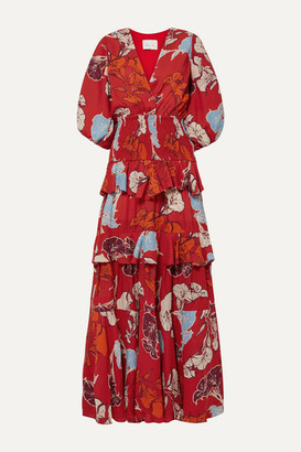 Johanna Ortiz Voila It's Art Shirred Ruffled Floral-print Crepe Maxi Dress