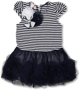 Biscotti Striped Knit Dress with Netting Skirt in Navy and White (Infant) (White) - Apparel