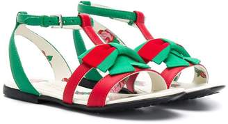 Gucci Kids Contrast Bow Open-Toe Sandals