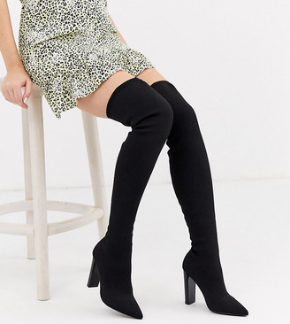 ASOS DESIGN Wide Fit Kudos knitted block heel thigh high boots in black