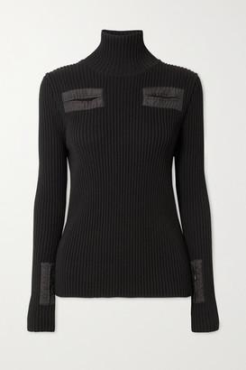 Bottega Veneta Cutout Shell-trimmed Ribbed Wool-blend Turtleneck Sweater - Black
