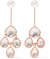 Larkspur & Hawk - Antoinette Girandole Rose Gold-dipped, Quartz And Pearl Earrings