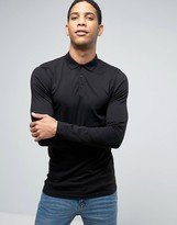 Asos Longline Muscle Long Sleeve Polo In Black