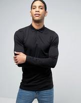 Asos Longline Muscle Long Sleeve Polo In Black