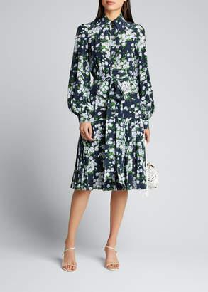 Michael Kors Floral-Print Pleated Silk Shirtdress
