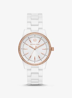 Michael Kors Ritz Pave White-Tone Ceramic Watch - White