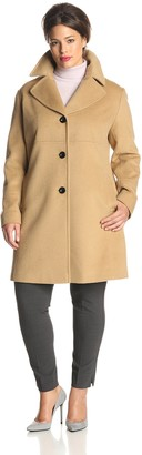 Larry Levine Women's Plus-Size Classic Single Breasted Notch Collar Wool Coat
