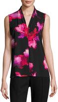 T Tahari Edie Floral-Print Blouse, Black Pattern