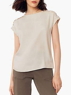 Oasis Lace Shoulder T-Shirt, Off White