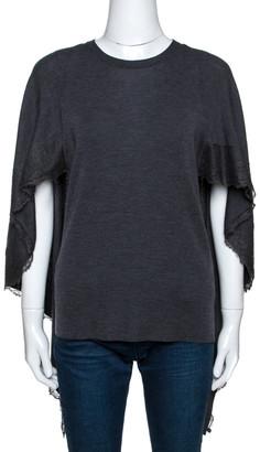 Valentino Grey Wool Knit Lace Trim Caped Sweater M