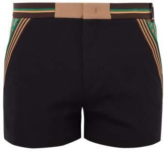 Fendi Stripe Trimmed Cotton Blend Shorts - Mens - Black Multi