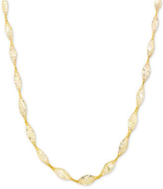 "Italian Gold Cubic Zirconia Mesh Link 18"" Collar Necklace in 14k Gold"