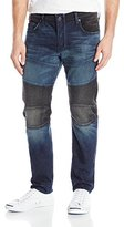 True Religion Men's Rocco Relaxed Skinny Two Tone Moto Jean