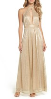 LuLu*s Women's Metallic Halter Gown