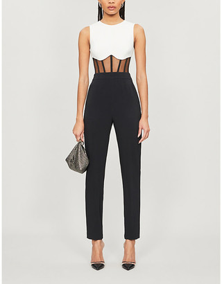 David Koma Contrasting sheer-panel crepe jumpsuit