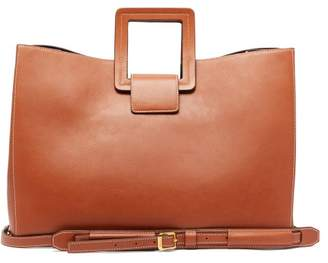 STAUD Drew Topstitched-leather Tote Bag - Womens - Tan