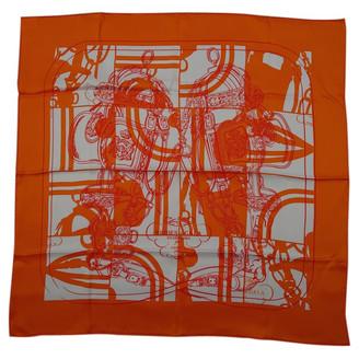 Hermã ̈S HermAs Gavroche 45 Orange Silk Scarves