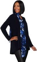 Susan Graver Liquid Knit Cardigan & Tank Set w/ Printed Chiffon Scarf