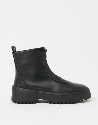 ASOS DESIGN Azure chunky front zip boots in black