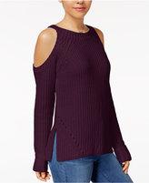 Hippie Rose Juniors' Cold-Shoulder Sweater