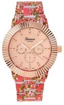 Geneva Platinum Women's Rhinestone Chronograph Stainless Steel Link Watch - Coral