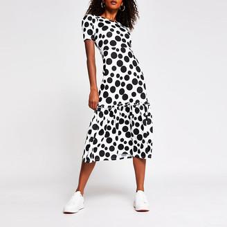 River Island White spot print midi dress
