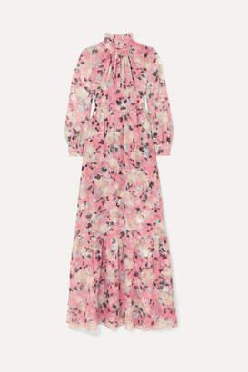 Erdem Clementine Gathered Floral-print Silk-voile Gown - Pink