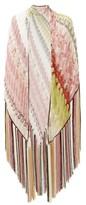 Missoni Fringed Zigzag Lame Shawl - Womens - Pink Multi
