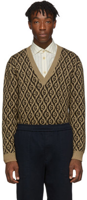 Gucci Brown G Rhombus V-Neck Sweater